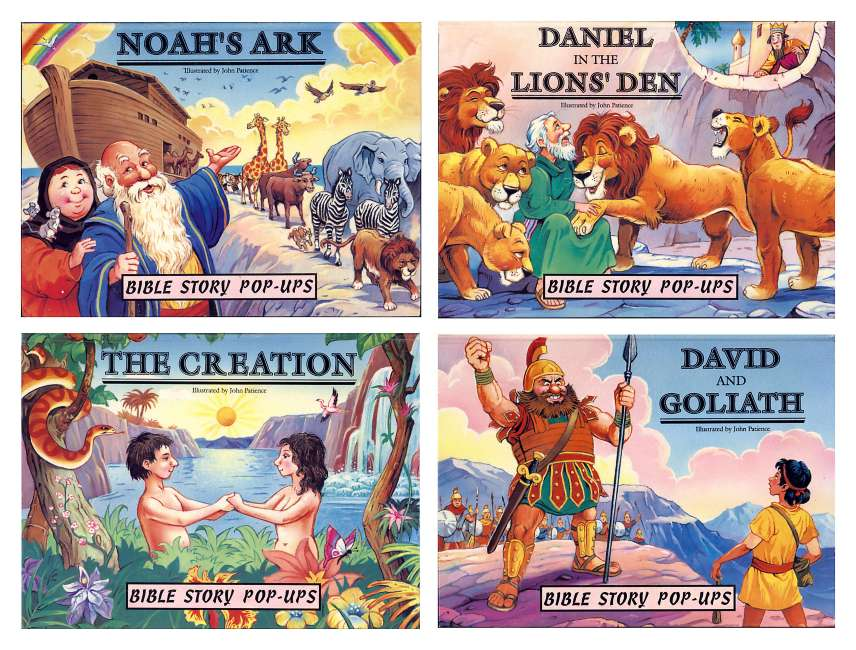 Illustrated Book Cover Ups : Bible stories pop up children s books available for licensing